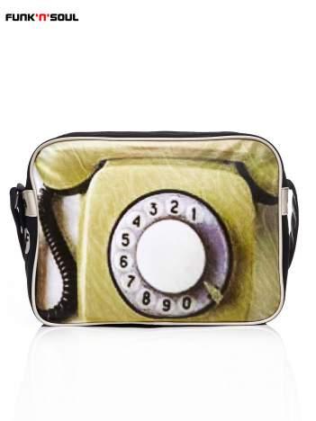 FUNK N SOUL Czarna torba na ramię z nadrukiem telefonu