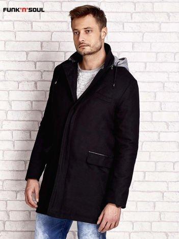 FUNK N SOUL Czarny wełniany płaszcz męski z kapturem