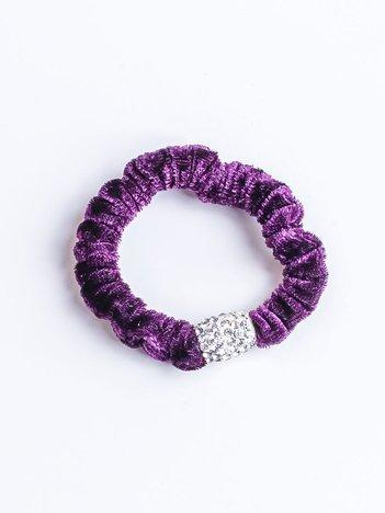 Fioletowa atłasowa nieplącząca włosów gumka z cyrkoniami