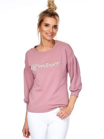 Fioletowa bluza z perełkami