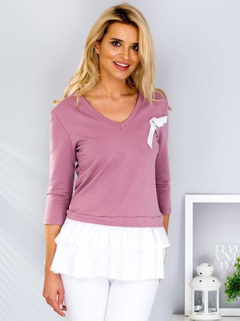 Fioletowa bluza z warstwową falbaną