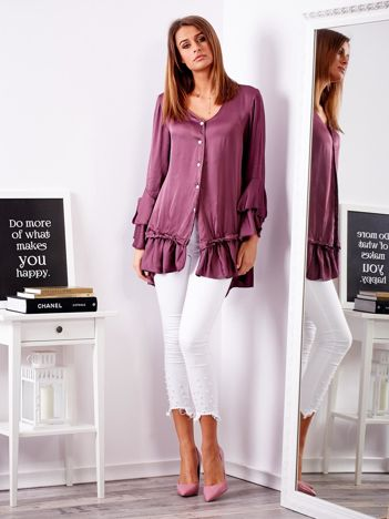 Fioletowa bluzka z falbanami