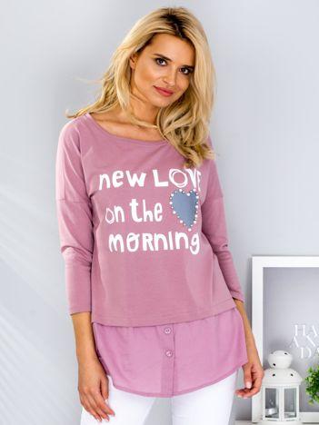 Fioletowa bluzka z koszulą i napisem