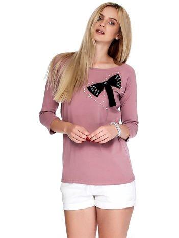 Fioletowa bluzka z ozdobną kokardą