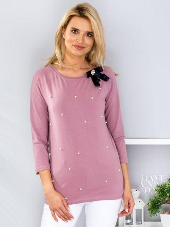 Fioletowa bluzka z przypinką i perełkami