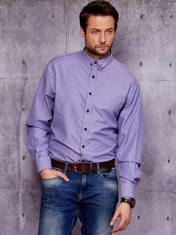 Fioletowa koszula męska w drobny wzór PLUS SIZE