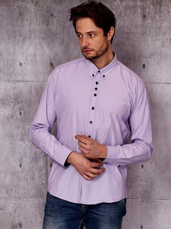 Fioletowa koszula męska w kratkę