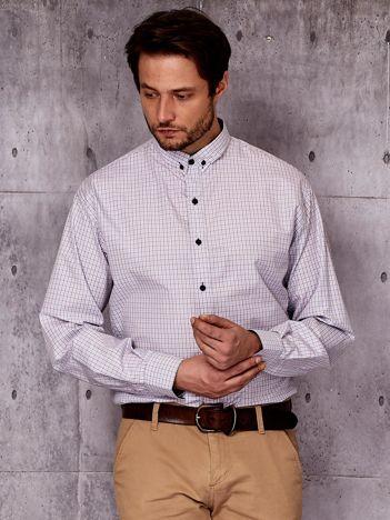 Fioletowa koszula męska we wzór drobnej kratki PLUS SIZE