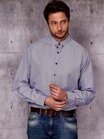 Fioletowa koszula męska we wzór pasków PLUS SIZE