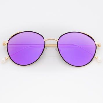 Fioletowe Damskie Okulary Słoneczne Lustrzane Z PERŁAMI Na Zausznikach
