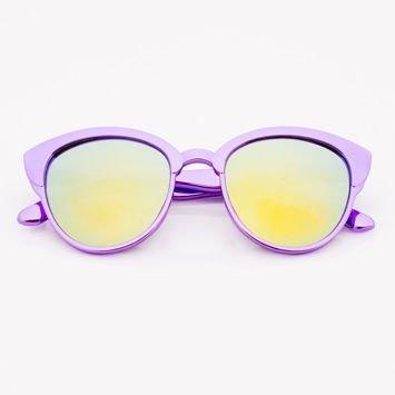 Fioletowe Lustrzane Dziecięce Okulary przeciwsłoneczne Z Metalicznym Połyskiem