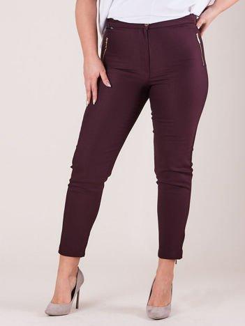 Fioletowe spodnie z suwakami PLUS SIZE