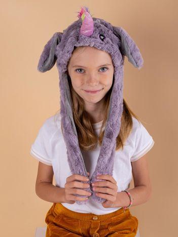 Fioletowo-szara pluszowa czapka