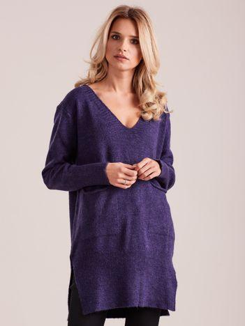 Fioletowy długi sweter z kieszeniami