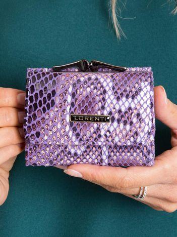 Fioletowy mały portfel skórzany