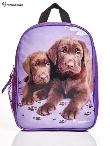 Fioletowy plecak na wycieczkę z nadrukiem psów
