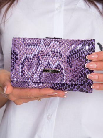 Fioletowy skórzany portfel w zwierzęce wzory
