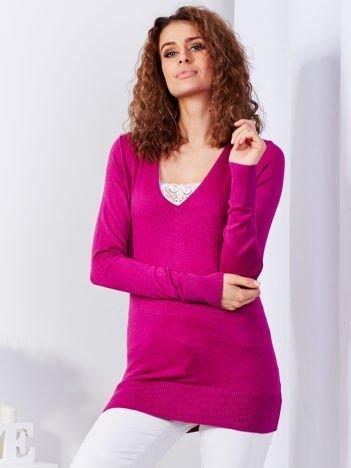 Fioletowy sweter V-neck