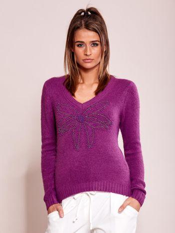 Fioletowy sweter z koralikami
