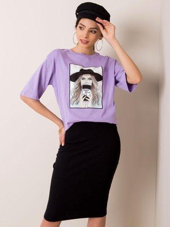 Fioletowy t-shirt Madame RUE PARIS