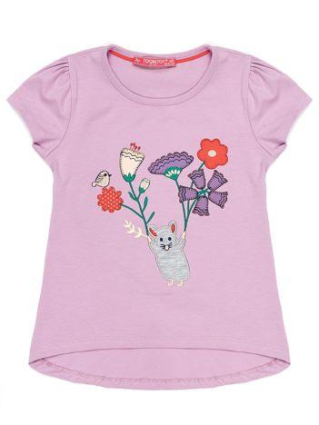 Fioletowy t-shirt dla dziewczynki z kolorową naszywką