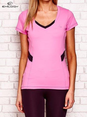 Fioletowy t-shirt z kontrastowymi wstawkami