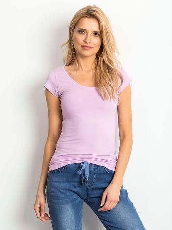 Fioletowy t-shirt z okrągłym dekoltem