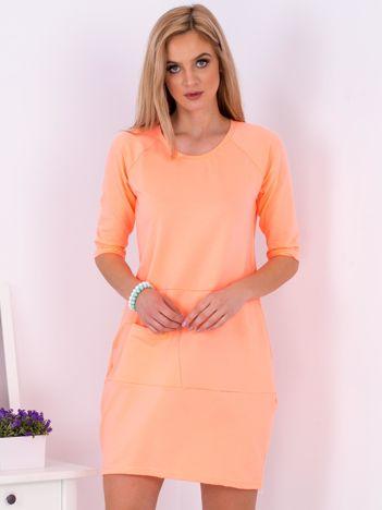 Fluo pomarańczowa sukienka z kieszenią