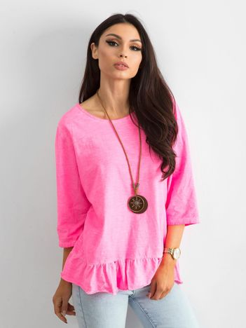 Fluo różowa bluzka z falbaną
