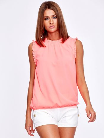 Fluo różowa bluzka z falbankami