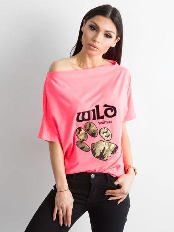 Fluo różowa bluzka z motywem zwierzęcym