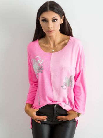 Fluo różowa damska bluzka z nadrukiem