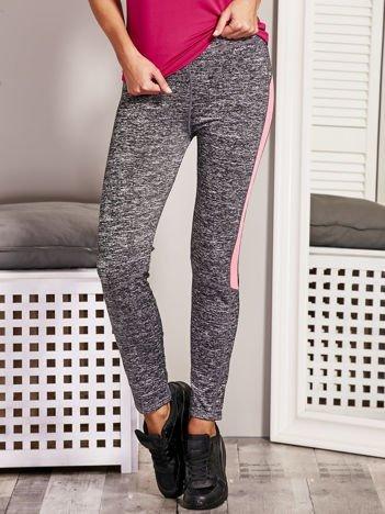 Fluo różowe melanżowe legginsy z kontrastowymi wstawkami