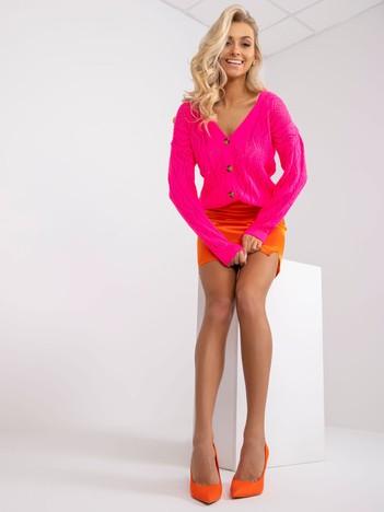 Fluo różowy sweter na guziki Gregoire RUE PARIS
