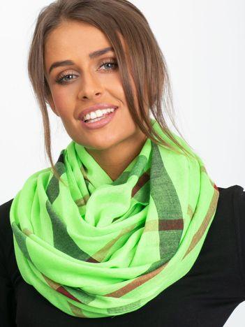 Fluo zielona chusta w kratkę