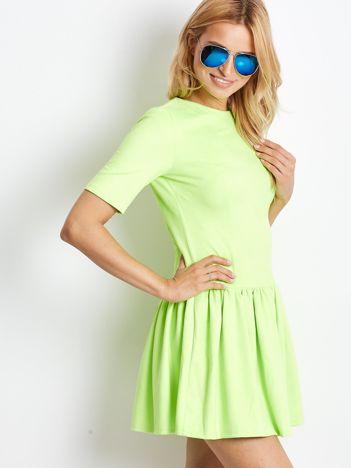 Fluo zielona z ekozamszu sukienka