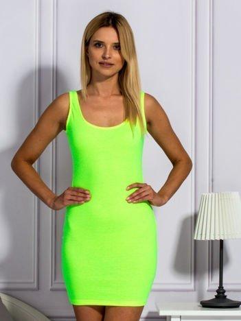Fluo żółta prążkowana sukienka
