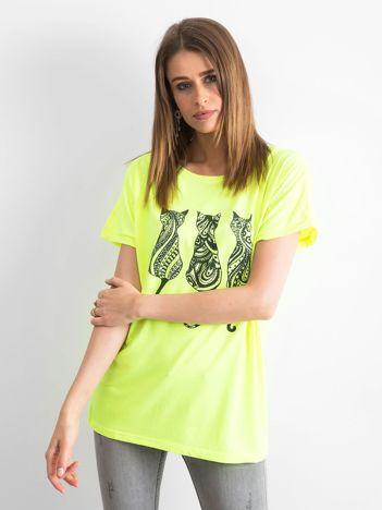 Fluo żółty t-shirt Kittens
