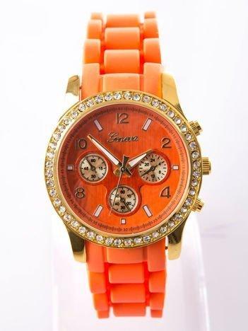 Fluopomarańczowy silikonowy zegarek damski