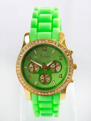 Fluozielony silikonowy zegarek damski