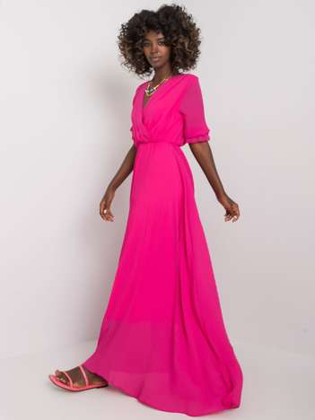 Fuksjowa długa sukienka plisowana Alejandra