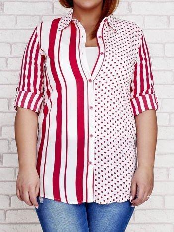 Fuksjowa koszula w paski i grochy PLUS SIZE