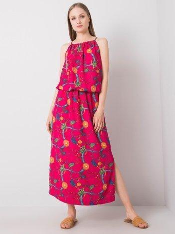 Fuksjowa sukienka z nadrukiem Amaranta RUE PARIS