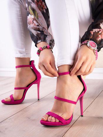 Fuksjowe sandały na szpilkach z suwakiem na tyle cholewki
