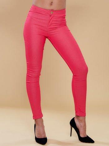 Fuksjowe spodnie rurki skinny