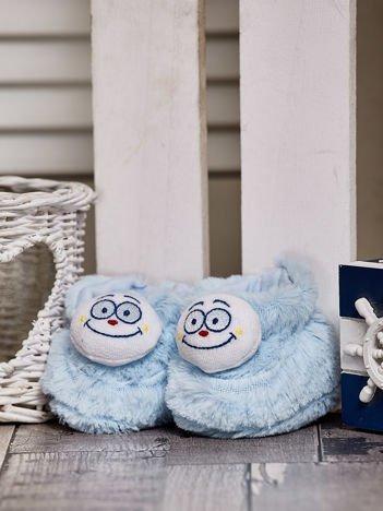 Futrzane buciki dziecięce z ozdobnym noskiem jasnoniebieskie