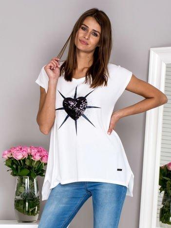 G by BACZYŃSKA Biała bluzka z cekinową aplikacją