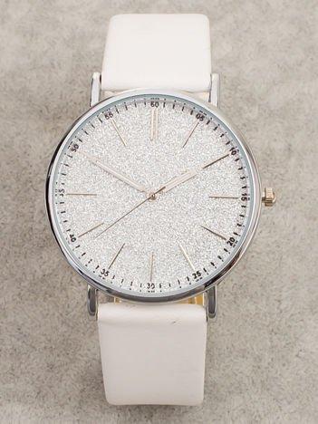 GLITTER biały zegarek damski