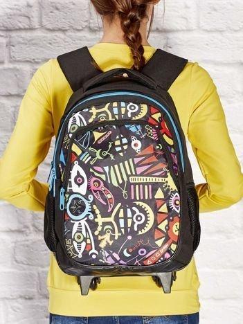 GRATIS!!! Czarny plecak szkolny na kółkach z kolorowym nadrukiem