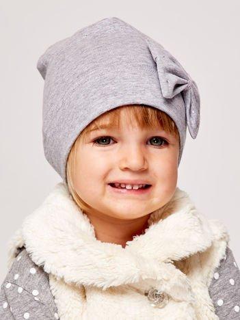 Gładka dziewczęca czapka z ozdobną kokardką szara